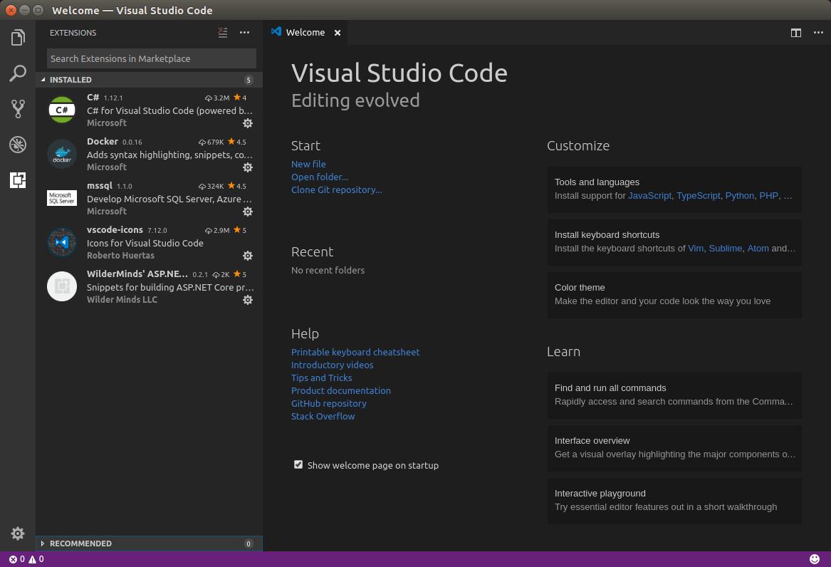 Setup a  NET Core, VSCode & Docker Ubuntu Development